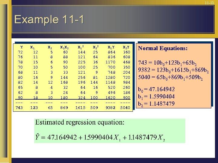 11 -12 Example 11 -1 Y 72 76 78 70 68 80 82 65