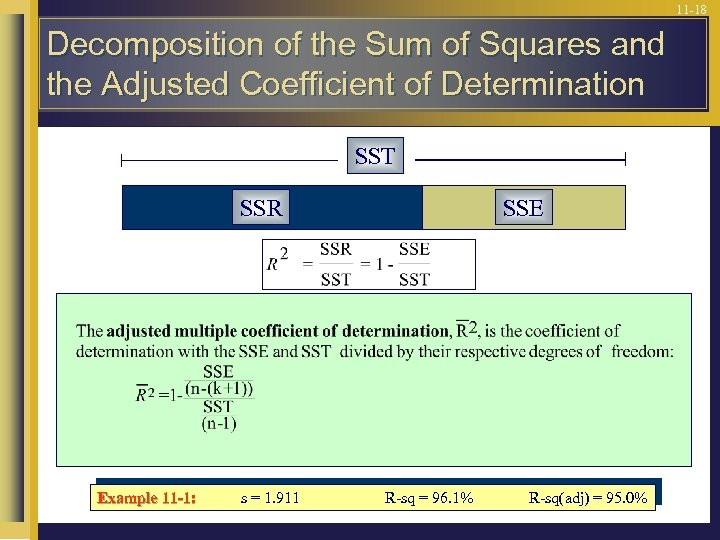 11 -18 Decomposition of the Sum of Squares and the Adjusted Coefficient of Determination