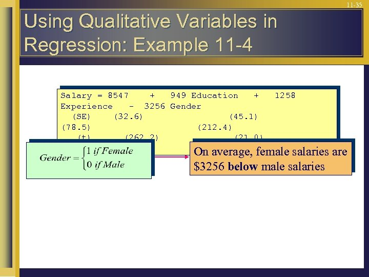11 -35 Using Qualitative Variables in Regression: Example 11 -4 Salary = 8547 +