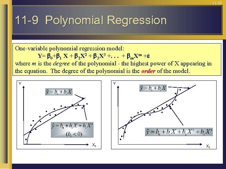 11 -37 11 -9 Polynomial Regression One-variable polynomial regression model: Y= 0+ 1 X