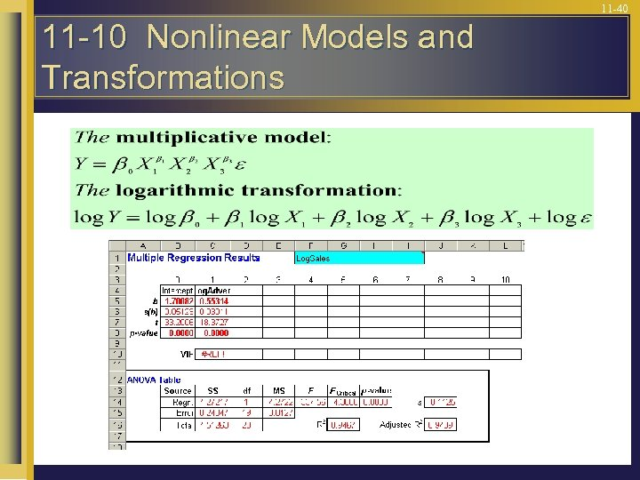11 -40 11 -10 Nonlinear Models and Transformations