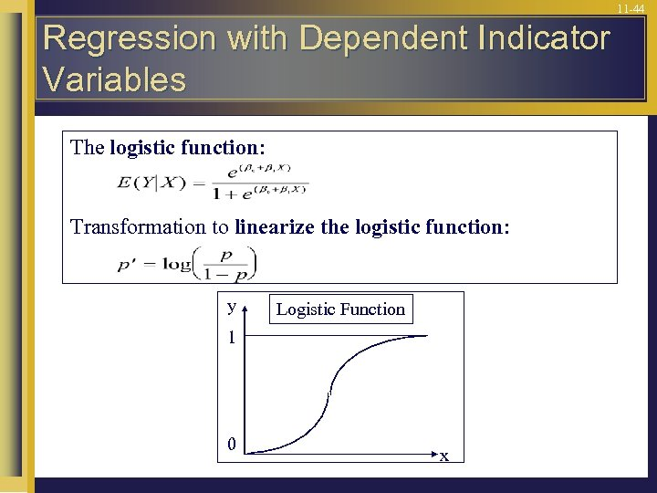 11 -44 Regression with Dependent Indicator Variables The logistic function: Transformation to linearize the
