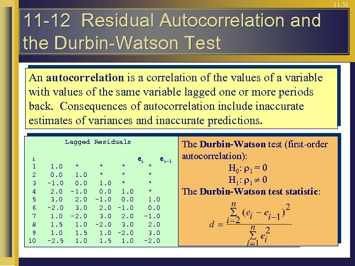 11 -51 11 -12 Residual Autocorrelation and the Durbin-Watson Test An autocorrelation is a