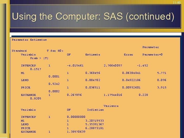 11 -60 Using the Computer: SAS (continued) Parameter Estimates Parameter Standard T for H