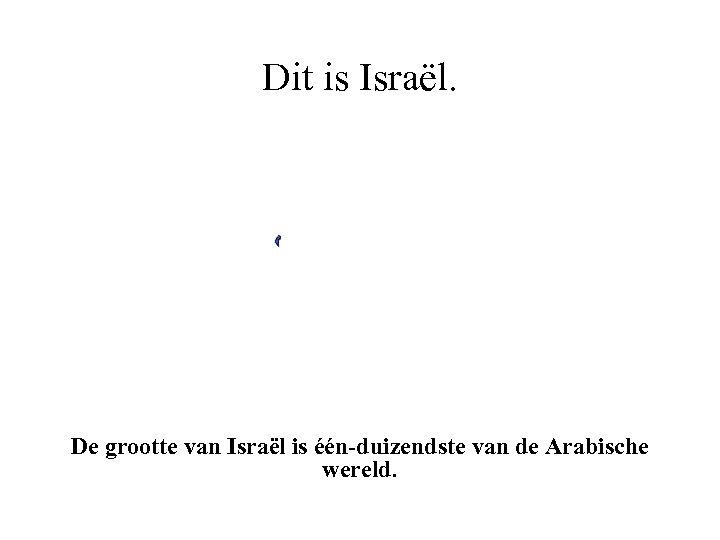 Dit is Israël. De grootte van Israël is één-duizendste van de Arabische wereld.