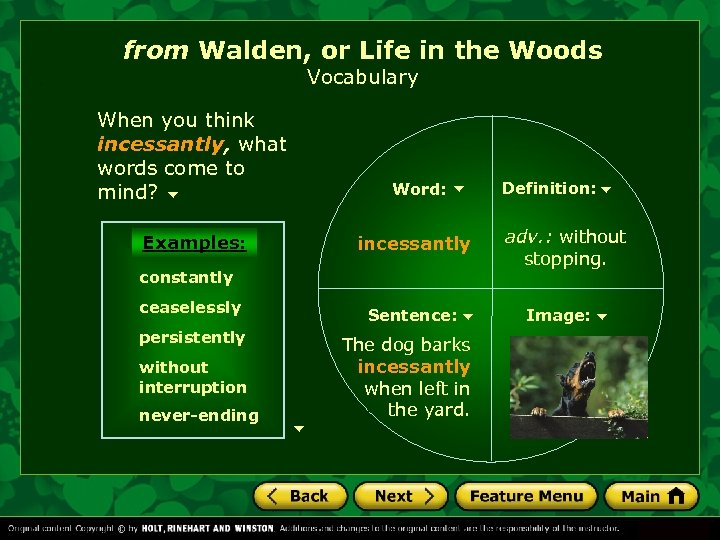 from Walden, or Life in the Woods Vocabulary When you think incessantly, what words