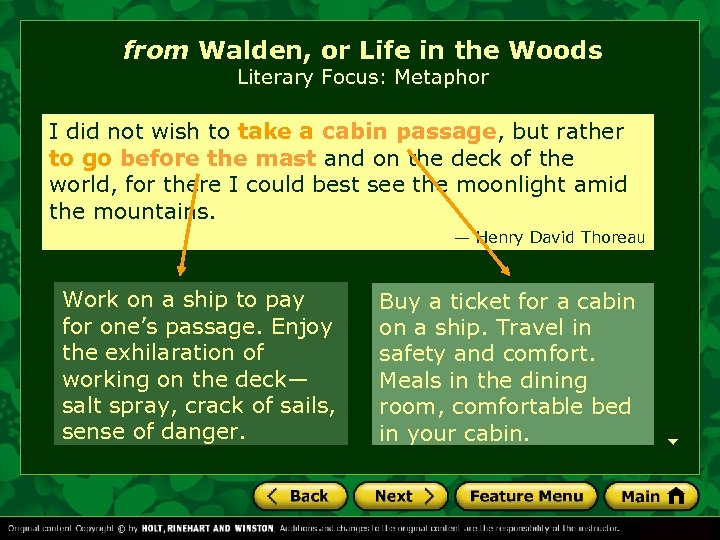from Walden, or Life in the Woods Literary Focus: Metaphor I did not wish