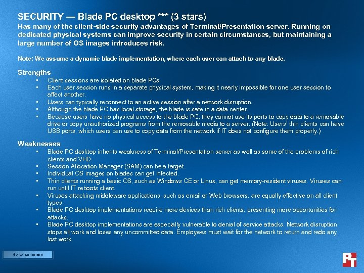 SECURITY — Blade PC desktop *** (3 stars) Has many of the client-side security