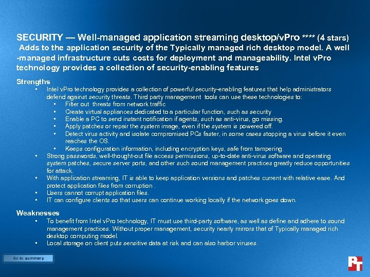 SECURITY — Well-managed application streaming desktop/v. Pro **** (4 stars) Adds to the application