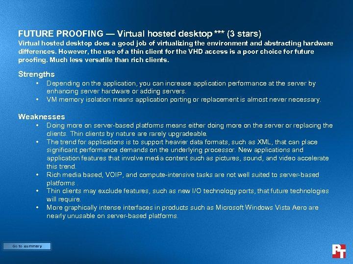 FUTURE PROOFING — Virtual hosted desktop *** (3 stars) Virtual hosted desktop does a