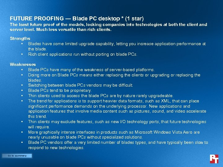 FUTURE PROOFING — Blade PC desktop * (1 star) The least future proof of