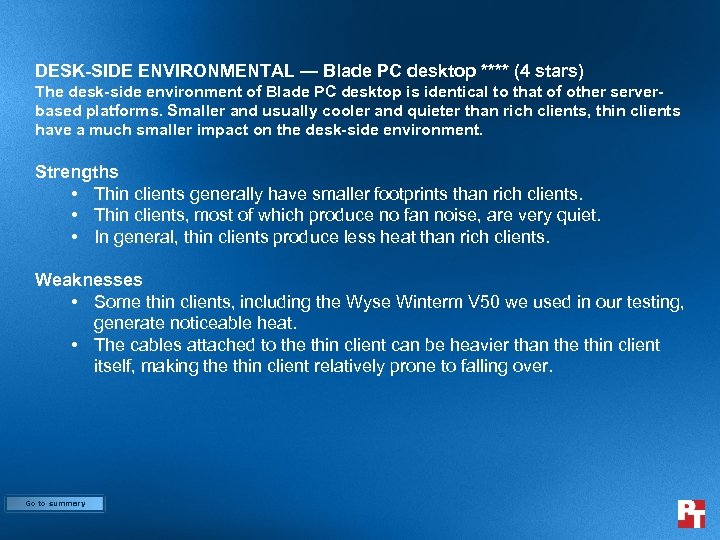 DESK-SIDE ENVIRONMENTAL — Blade PC desktop **** (4 stars) The desk-side environment of Blade