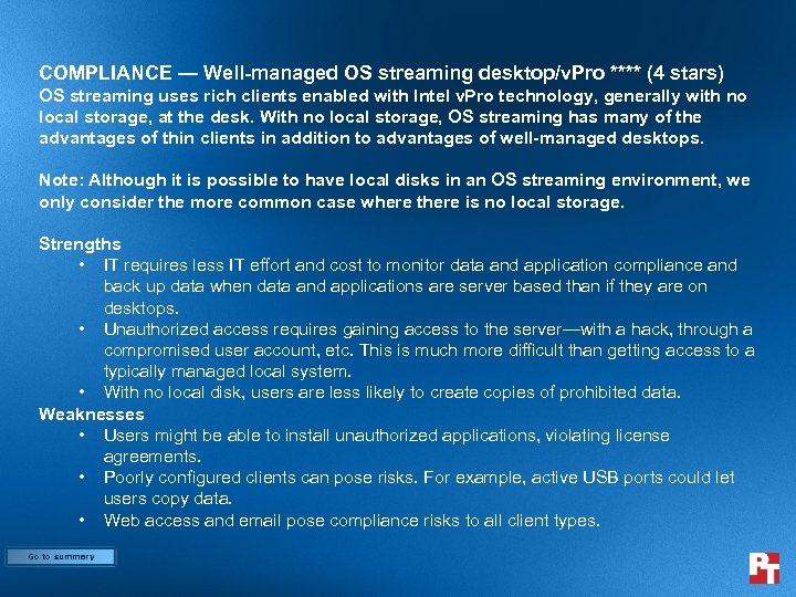 COMPLIANCE — Well-managed OS streaming desktop/v. Pro **** (4 stars) OS streaming uses rich