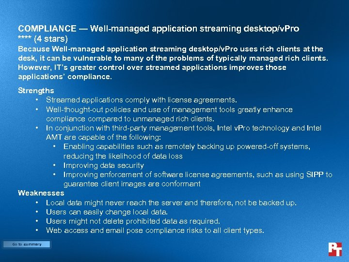 COMPLIANCE — Well-managed application streaming desktop/v. Pro **** (4 stars) Because Well-managed application streaming