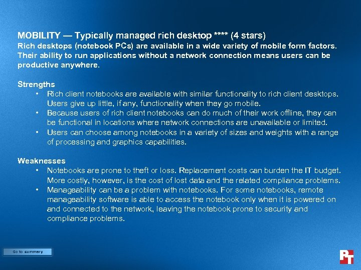MOBILITY — Typically managed rich desktop **** (4 stars) Rich desktops (notebook PCs) are