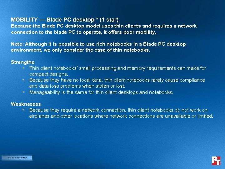 MOBILITY — Blade PC desktop * (1 star) Because the Blade PC desktop model