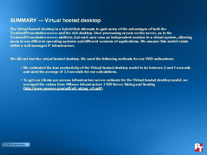 SUMMARY — Virtual hosted desktop The Virtual hosted desktop is a hybrid that attempts