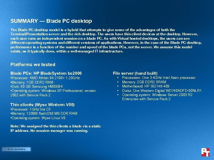 SUMMARY — Blade PC desktop The Blade PC desktop model is a hybrid that