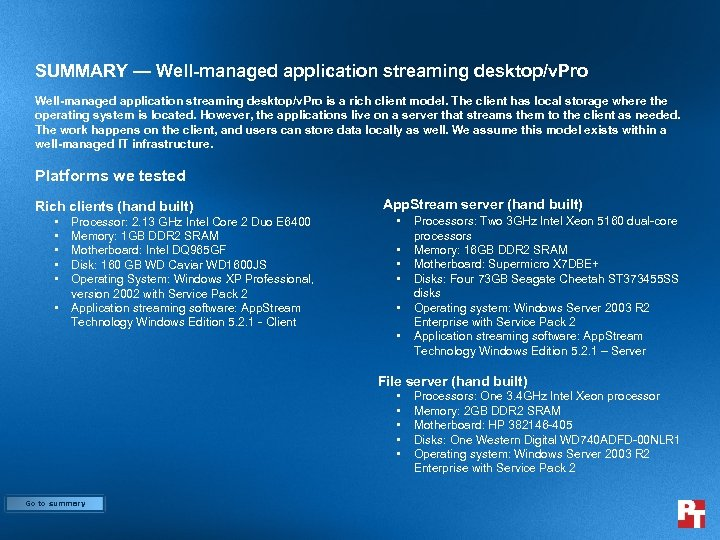 SUMMARY — Well-managed application streaming desktop/v. Pro is a rich client model. The client