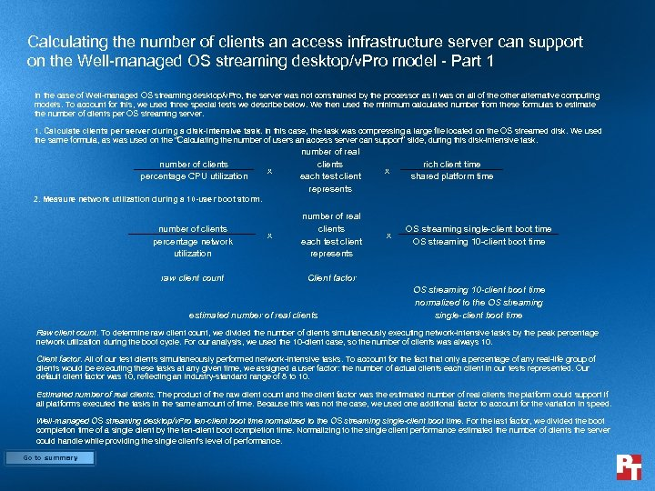 Calculating the number of clients an access infrastructure server can support on the Well-managed