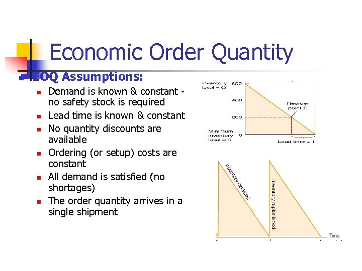 Economic Order Quantity n EOQ Assumptions: n n n Demand is known & constant
