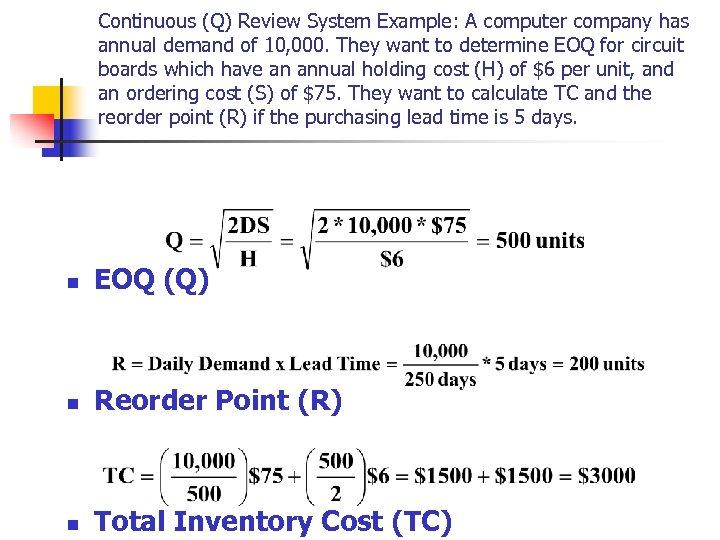 Chapter 12 Independent Demand Inventory Management