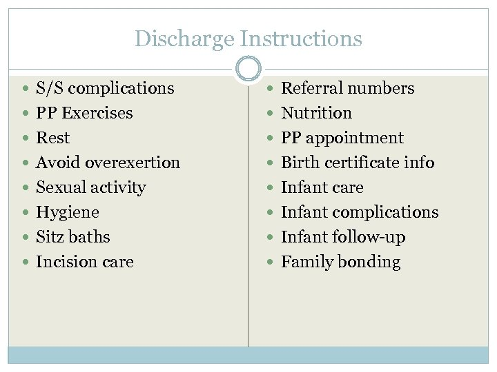 Discharge Instructions S/S complications Referral numbers PP Exercises Nutrition Rest PP appointment Avoid overexertion