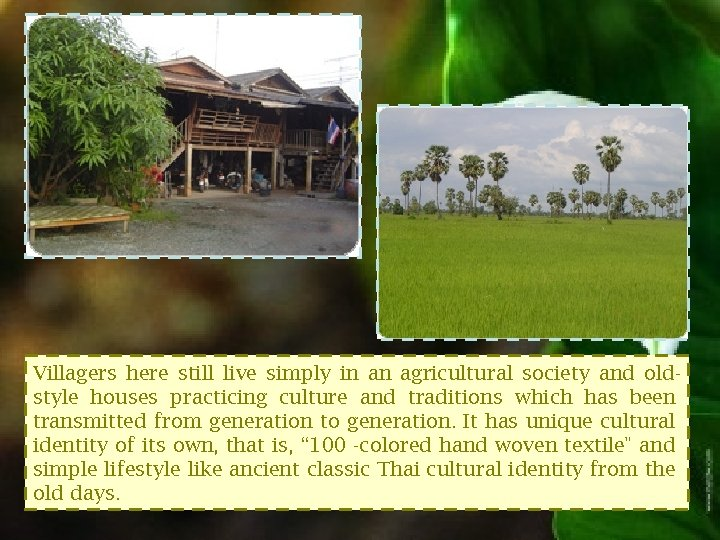 Villagers here still live simply in an agricultural society and oldstyle houses practicing culture