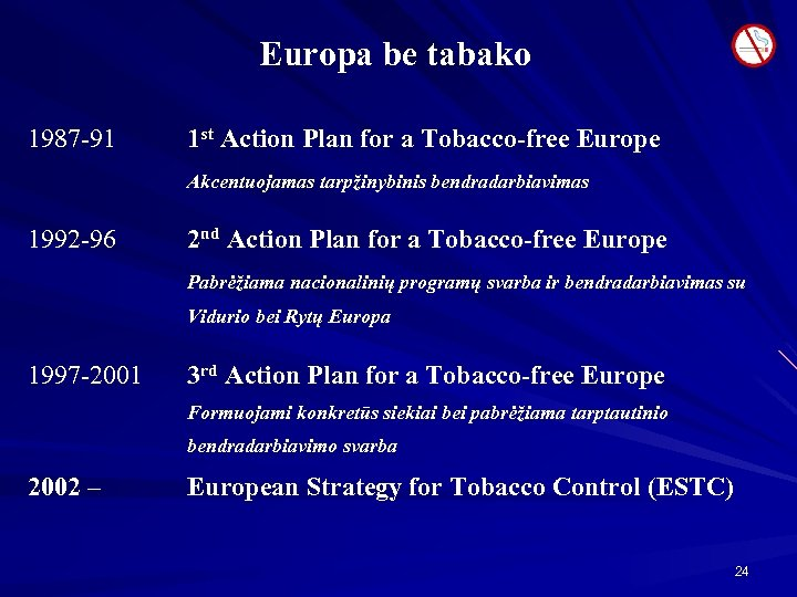 Europa be tabako 1987 -91 1 st Action Plan for a Tobacco-free Europe Akcentuojamas