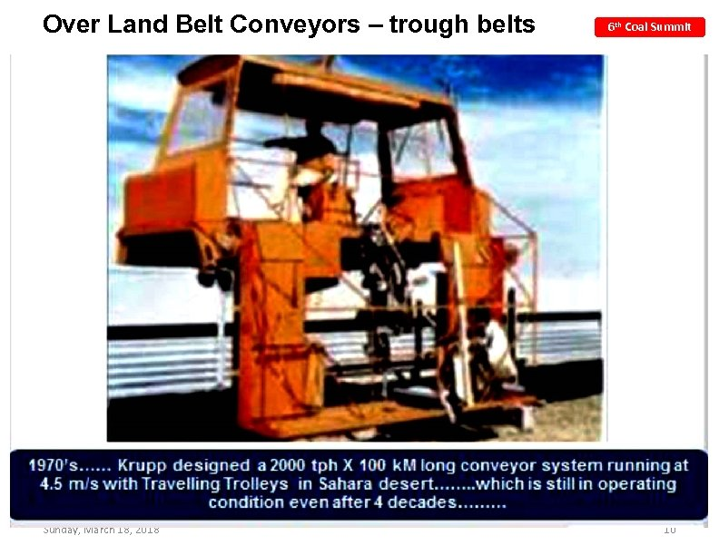 Over Land Belt Conveyors – trough belts Sunday, March 18, 2018 6 th Coal