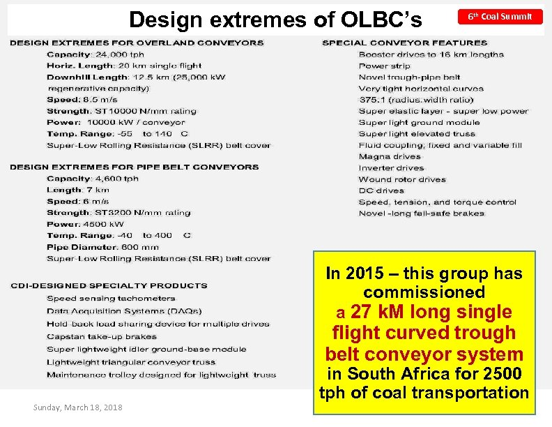 Design extremes of OLBC's 6 th Coal Summit In 2015 – this group has