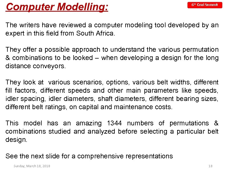 Computer Modelling: 6 th Coal Summit The writers have reviewed a computer modeling tool