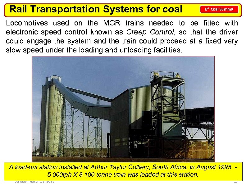 Rail Transportation Systems for coal 6 th Coal Summit Locomotives used on the MGR