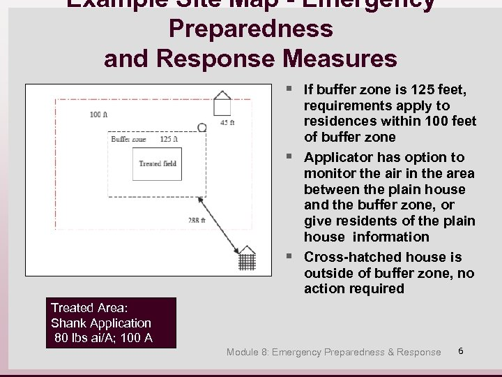 Example Site Map - Emergency Preparedness and Response Measures § If buffer zone is