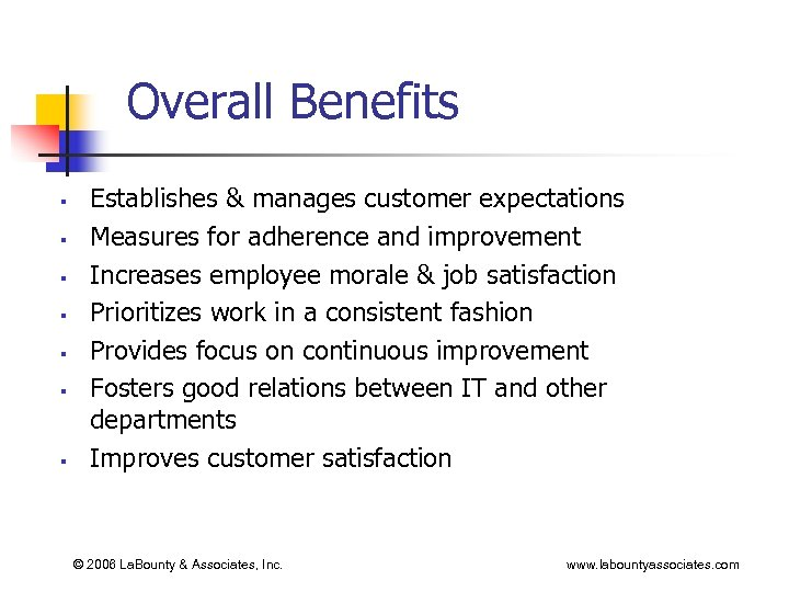 Overall Benefits § § § § Establishes & manages customer expectations Measures for adherence