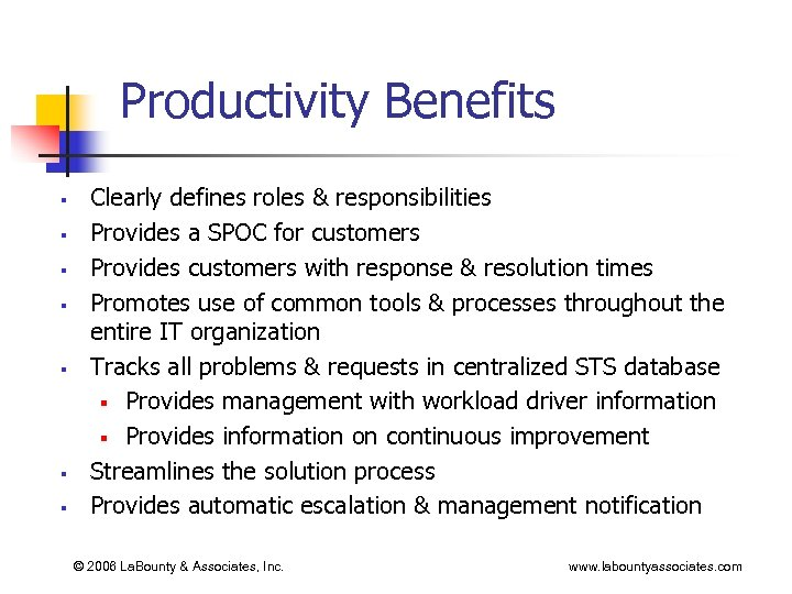 Productivity Benefits § § § § Clearly defines roles & responsibilities Provides a SPOC