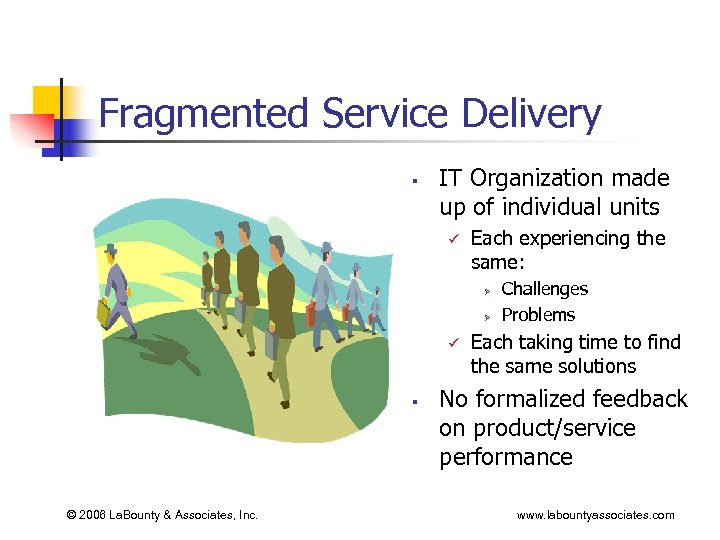 Fragmented Service Delivery § IT Organization made up of individual units ü Each experiencing