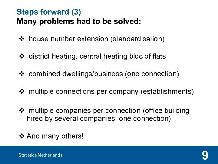 Steps forward (3) Many problems had to be solved: v house number extension (standardisation)