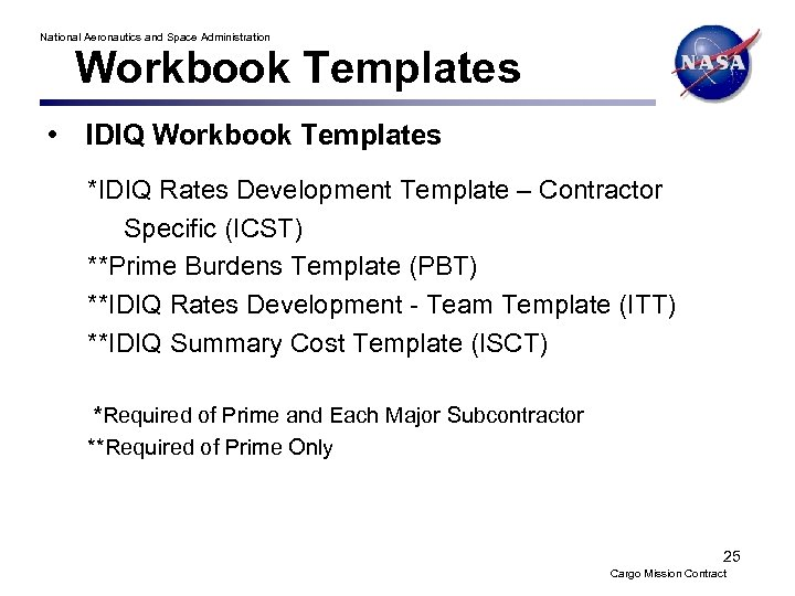 National Aeronautics and Space Administration Workbook Templates • IDIQ Workbook Templates *IDIQ Rates Development