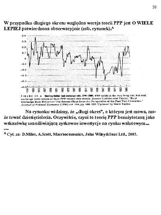 20 W przypadku długiego okresu względna wersja teorii PPP jest O WIELE LEPIEJ potwierdzona