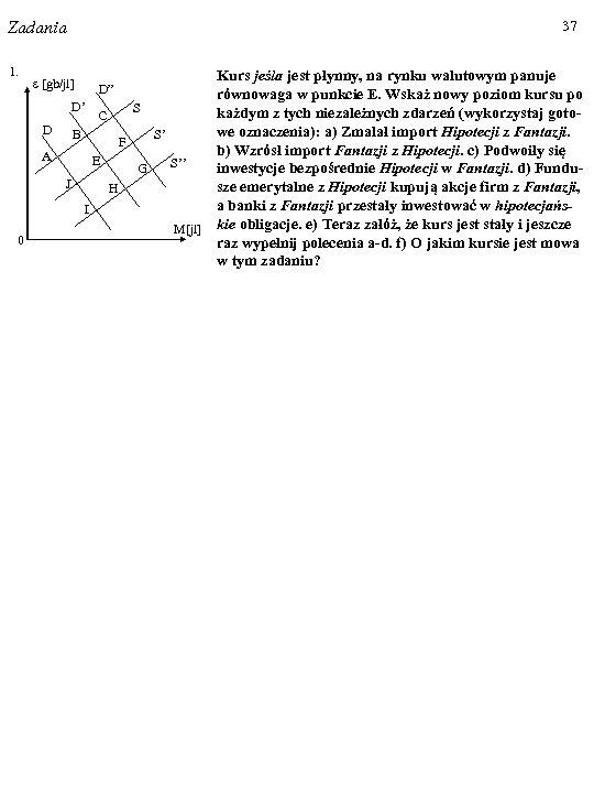 37 Zadania 1. 0 Kurs jeśla jest płynny, na rynku walutowym panuje równowaga w