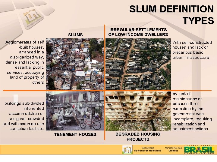 SLUM DEFINITION TYPES SLUMS IRREGULAR SETTLEMENTS OF LOW INCOME DWELLERS Agglomerates of self -built