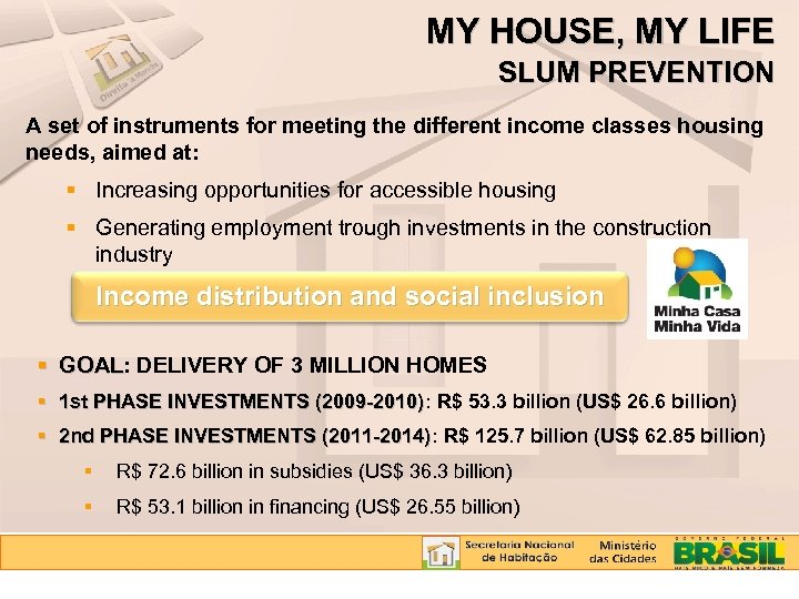 MY HOUSE, MY LIFE SLUM PREVENTION A set of instruments for meeting the different