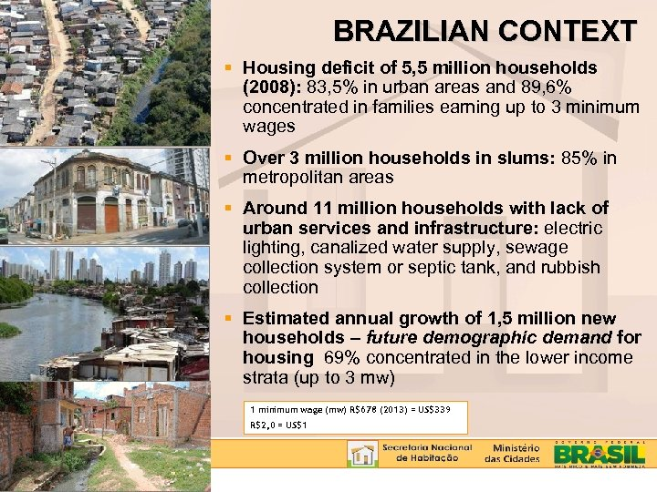 BRAZILIAN CONTEXT Housing deficit of 5, 5 million households (2008): 83, 5% in urban