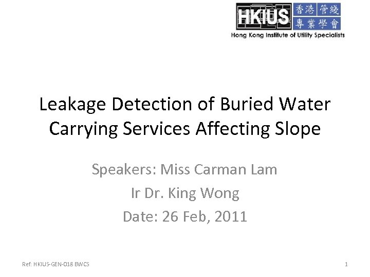 Leakage Detection of Buried Water Carrying Services Affecting Slope Speakers: Miss Carman Lam Ir