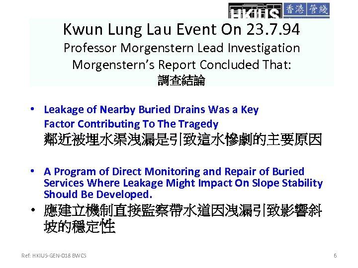 Kwun Lung Lau Event On 23. 7. 94 Professor Morgenstern Lead Investigation Morgenstern's Report