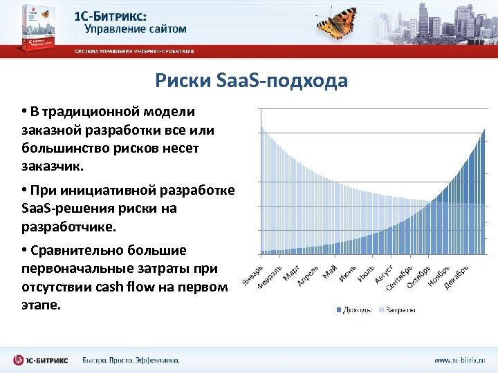 Риски Saa. S-подхода • В традиционной модели заказной разработки все или большинство рисков несет