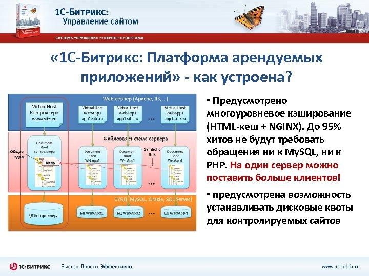 « 1 С-Битрикс: Платформа арендуемых приложений» - как устроена? • Предусмотрено многоуровневое кэширование