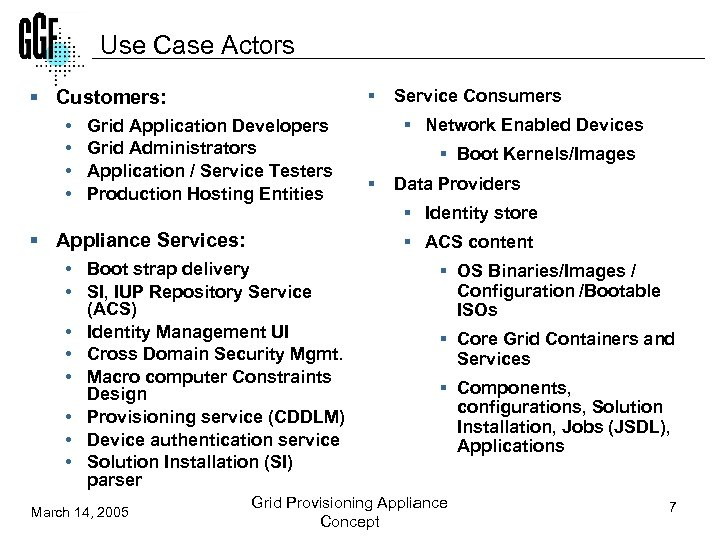 Use Case Actors § Customers: • • § Grid Application Developers Grid Administrators Application