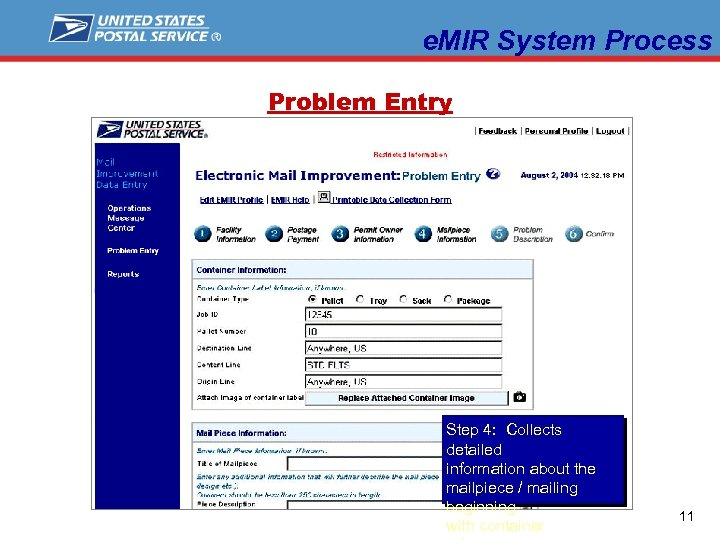 e. MIR System Process Problem Entry Step 4: Collects detailed information about the mailpiece